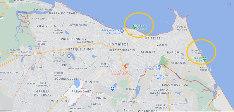 Mapa das regiões de Fortaleza